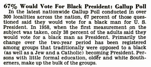 Black President, Gallup Poll, 1969