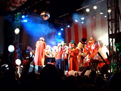 on stage with polyphonic spree