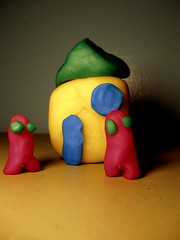 home alast (Maʝicdölphin) Tags: family blue red house macro green home yellow canon powershot clay a590