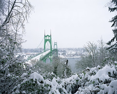 Christmas wishes from St. Johns, Oregon (Zeb Andrews) Tags: christmas winter urban snow cold film oregon portland landscape cityscape stjohns pacificnorthwest pdx stjohnsbridge pentax6x7 fujipro160c bluemooncamera zebandrews thankgoodnessforbeingabletowalktoplaceslikethis becausedrivinghassucked zebandrewsphotography
