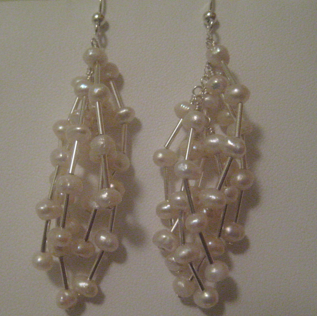 Freshwater Pearl and Sterling Silver Multi-Drop Earrings