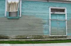 double door (harthillsouth) Tags: door wood house color window awning grey aqua turquoise damp doubledoor paintred