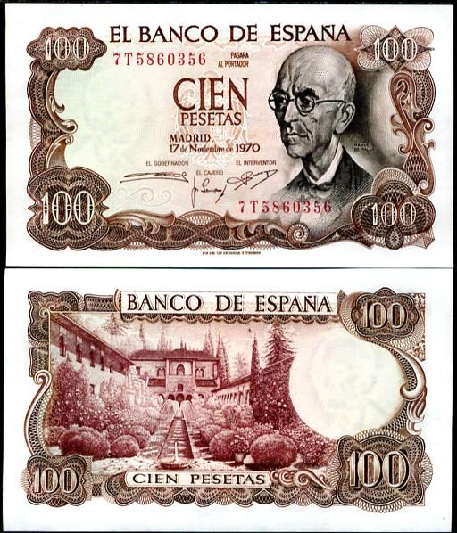 100 Pesetas Španielsko 1970, P152