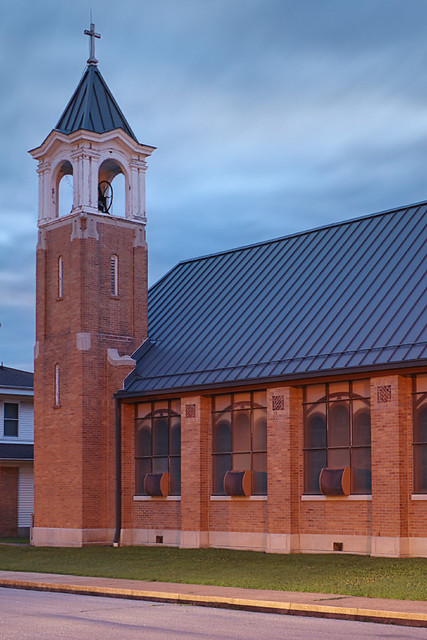Pure Heart of Mary Roman Catholic Church, in Chamois, Missouri, USA - exterior at dusk
