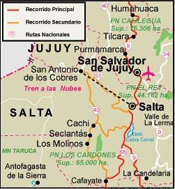 Mapa del tren a Salta