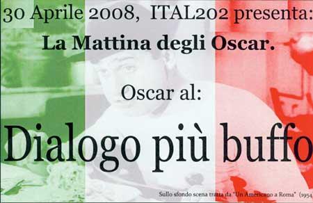 Image of Oscar card for best Italian dialog
