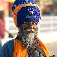 Warrior Saint (gurbir singh brar) Tags: blue portrait beard nikon warrior d200 turban punjab bana khalsa khanda nihang gurbirsinghbrar
