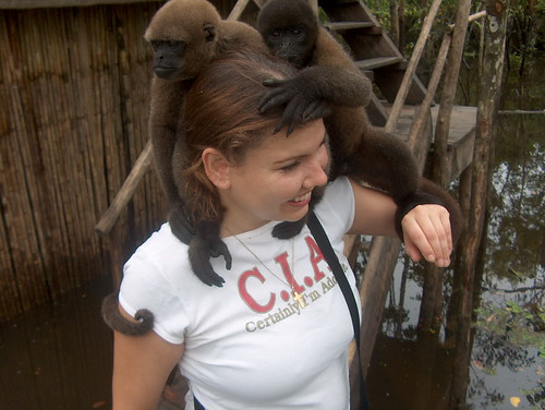 Lucy w/2 monkeys on her head