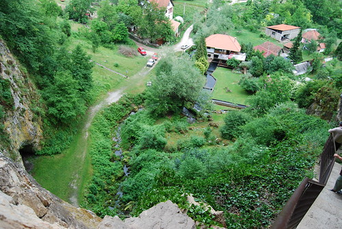 Looking down from cave