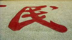 Chinese character for peoples or tribe or race (seen on sign near Qingshui, Gansu Province, China)