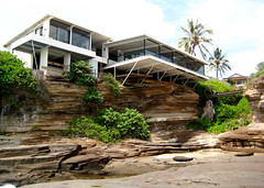 Amazing House, Perched on Volcanic Rock (alison) Tags: ocean china travel orange house home point hawaii bay amazing pacific oahu shoreline shore kai cave walls volcanic spitting portlock secluded layered maunalua kawaihoa