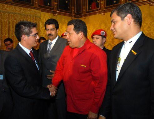 Esteban Mendieta Jara, Hugo Chávez, Rafael Correa