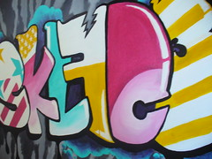 SKLFC3 - acrylic on 3x2' canvas (sullface) Tags: street pink yellow painting print fun typography graffiti colorful aqua paint acrylic pattern colours purple bright turquoise background stripes graf letters bubbles canvas zebra gradient fade graff bubbly bold obnoxious skullface unrealistic didimentionyellow typog sklfce theworkofatoy mostofficial
