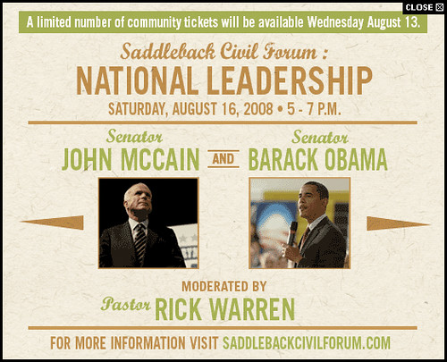 Promotional Pop-up Ad for Presidential Event at Saddleback Church