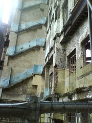 Stairwells and things visible in the ruin of the Boiler House