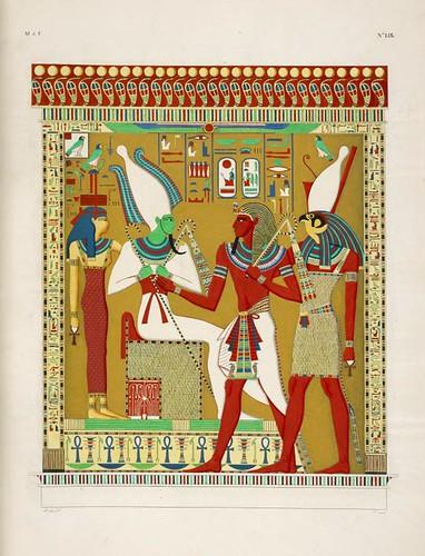 26- Gran bajorrelieve de la tumba de Menphtah I [leer Sethos I] representa Faraón dirigido por el dios Horus y Osiris antes de Athyr infernal