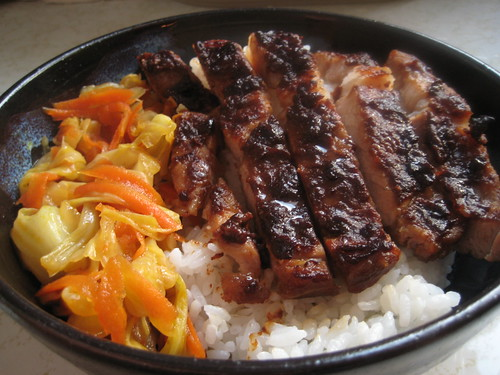 Miso Pork Chop with cabbage in a bowl