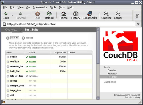 CouchDB running its tests