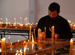 Votive candles (e y e / s e e) Tags: candles monk armenia bougies votive moine armenie   aout2008