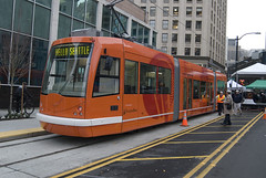 Seattle streetcar, soon to link the ID to Broadway. Photo from Seattle Municipal Archives.