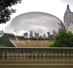 Illusion (Tiz_herself) Tags: sculpture chicago reflection art mirror shiny illusion chrome bubble transparent cloudgate anishkapoor outdoorart