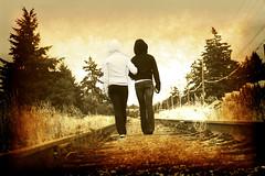 BFF (CrzysChick) Tags: railroad friends portrait texture walking tracks textures walkingaway bestfriends bff