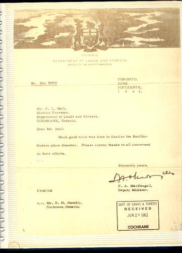 Barilko Letter sent to DOLF