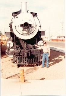 Eddie K and preserved Union Pacific # 533. Rawlins Wyoming. June 1984.
