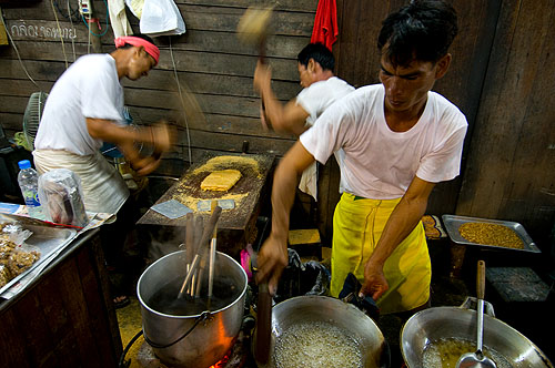 Making khanom tup tap, a peanut snack sold at Bangkok's annual Vegetarian Festival