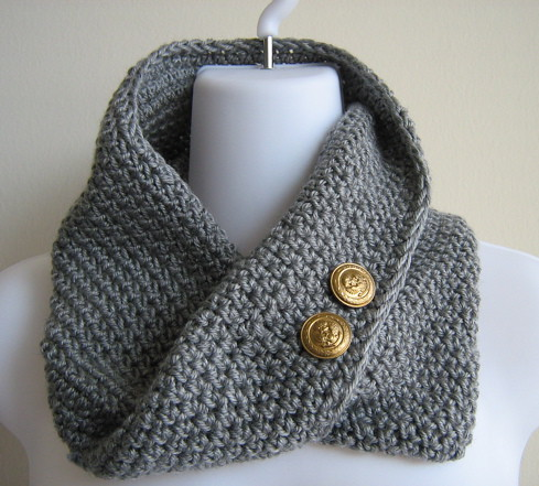 EMMA- Scrolling Infinity Scarf In Grey With Brass Buttons