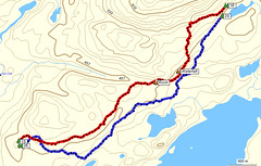 Trackline of the bushwhack to and from Ishpatina Ridge. Red line - To Ishpatina Ridge. Blue line - Return route.