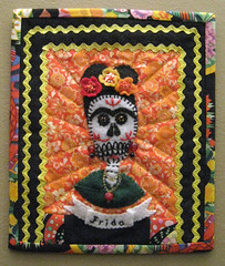 Frida DotD Mini Quilt Sent (crafty bean) Tags: art dayofthedead skull beads folk embroidery frida felt mexican quilting diadelosmuertos applique kahlo sugarskull ricrac swapbot