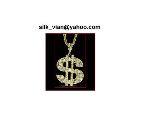 Mens 24k gold plated $ dollar pendant hip hop