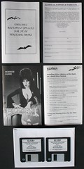 Manual and diskettes from Elvira, Mistress of the Dark game