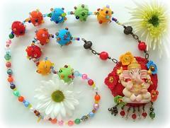 Ganesha (Lidia Luz) Tags: necklace beads ganesha handmade crochet jewelry felt bijoux bijuteria ganesh feltro colar bijouteria crochê lidialuz