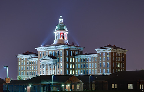 Saint Louis State Hospital, in Saint Louis, Missouri, USA - view at night