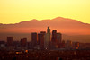 Downtown Los Angeles, Sunrise (segamatic) Tags: mountains sunrise canon eos losangeles downtown skyscrapers 40d mywinners canonef70200mmf4lisusm photofaceoffwinner photofaceoffplatinum pfogold pfosilver achallengeforyou fotocompetition fotocompetitionbronze