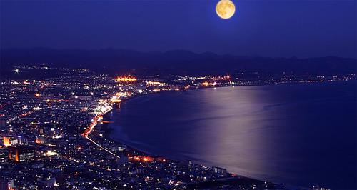 北海道涵館月夜美景