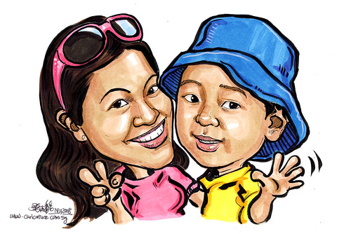 colour caricatures of mother and son 141108