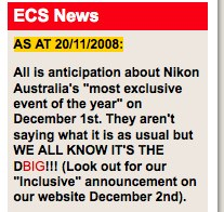 Something big on December 1st, 2008 -- but could it be the Nikon D3X?