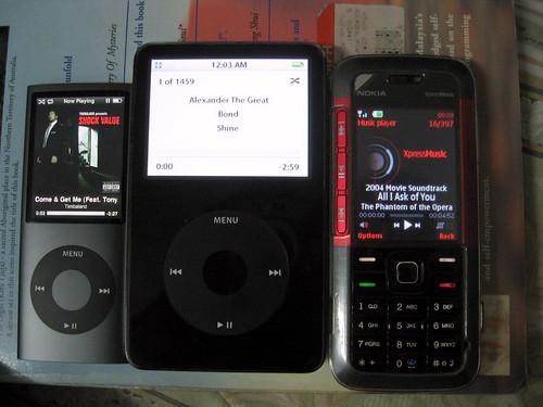 iPod Nano VS iPod Classic VS Nokia 5310 XpressMusic