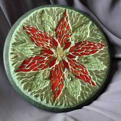 poinsettia mosaic (stratoz) Tags: red flower green glass mosaic poinsettia mandala realism realistic greengrout nutmegdesigns margaretalmon