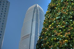 Merry Christmas from Hong Kong (GlobeTrotter 2000) Tags: christmas xmas blue winter vacation panorama hk tree tower skyline architecture landscape hongkong lights nikon cityscape harbour towers victoria hong kong laser merry ifc hdr skycrapers d80 gettyvacation2010
