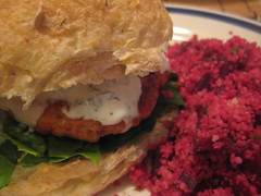 Tandoori Chicken Burgers w/ Beetroot Couscous 1