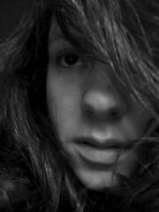 Hairline (dwendus) Tags: blackandwhite selfportrait girl face contrast mouth hair nose erin freckle berea dwendus