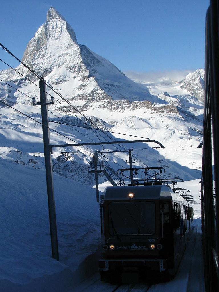 Gornergratbahn + Matterhorn bei Zermatt , Kanton Wallis , Schweiz