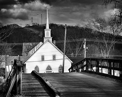 bridge & church (Krista Gabbard) Tags: bridge sky blackandwhite church clouds rural exposure kentucky steeple williamsburg woodenbridge hdr merged whitechurch