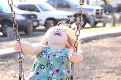 Pure Joy (Erick Bieger) Tags: park lake bird girl playground rural bench bread climb child seagull joy swing feed 50d