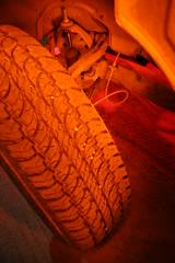 tire (Shutter Theory) Tags: longexposure lightpainting pickup nightshots atnight 1973 datsun butterscotch slowshutterspeed 620 inthedark lightpaint l20b lakehughes bulletside pl620