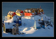 Sunrise (Kiddi Einars) Tags: houses winter house snow cold colour sunrise greenland colourful grnland grnland icecold sisimiut grnland